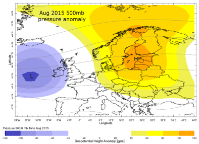 August mean 500mb pressure pattern