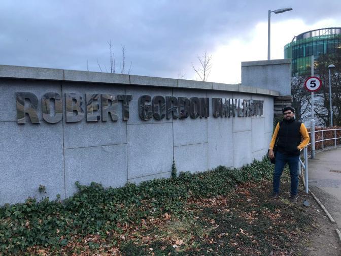 Anil Daniel outside RGU. MSc Advanced Architectural Design. Scotland's Saltire Scholarship.