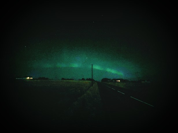 RGU Student Laura Green's picture of the Northern Lights from Orkney after her shift as a paramedic practice placement student.