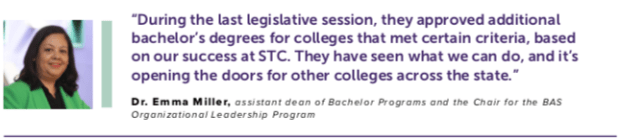 Dr. Emma Miller, assistant dean of Bachelor Programs and the Chair for the BAS Organizational Leadership Program