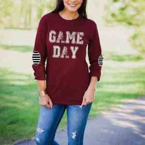 Game Day Elbow Patch Printed T-Shirt 2017 Fashion Letter O Neck Casual Top Female All Matched Long Sleeve T Shirt