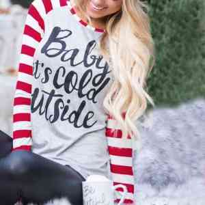 Long Sleeve T-Shirt O-Neck Raglan Sleeve Baby It's Cold Outside