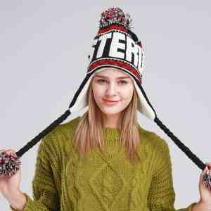 Women's Winter Knitted Hat Beanie for Girl Top Ball Hanging Ball Earflap