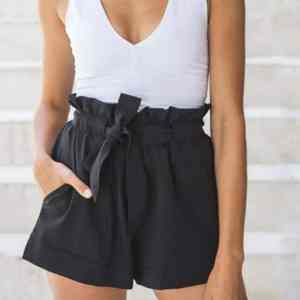 New Elegant Belt Short Pants Solid Popular Casual Bottom