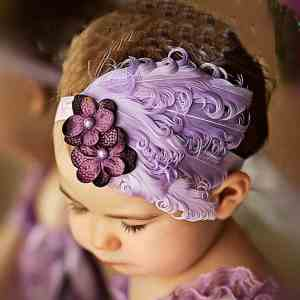 Baby Hair Band Feather Flower Hair Band Baby Girl Bow Head | Rhalyn's