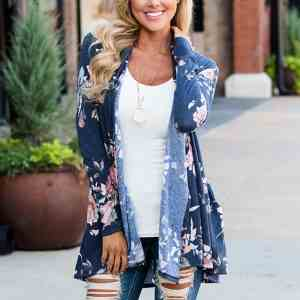 Long Sleeve Floral Printed Cardigan Casual