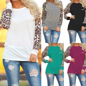 2018 Fashion Women Casual Long Sleeve Leopard Shirt