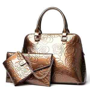 VOLESS Leather Women Bags Floral Printed 3pcs Set