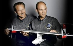 Piccard and Borschbeg with airplane model