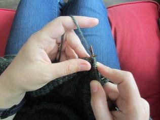 Put needle through stitch