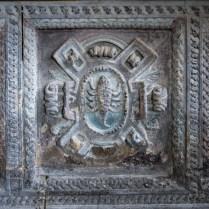 Lacock church - scorpion motif on family memorial