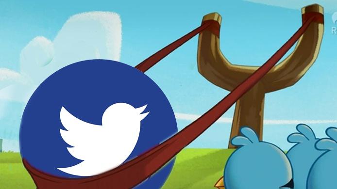 Angry Twitter Bird in Slingshot