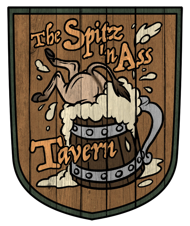 The Spitz 'n Ass Tavern Sign