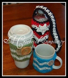 """Chasing Chevrons"" Cozies: Coffee Mug, Coffee Sleeve & Water Bottle by Jennifer Pionk's Ravelry Store"