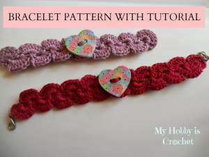 Bracelet with Heart Button by My Hobby is Crochet