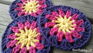 Happy Sun Coasters by Fiber Flux