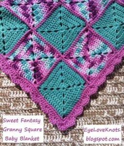 Sweet Fantasy Granny Square Baby Blanket by EyeLoveKnots