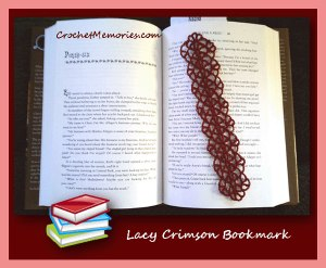 Lacy Crimson Bookmark by Crochet Memories