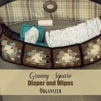 Granny Square Diaper and Wipes Organizer