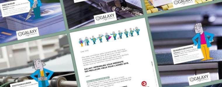 La carte de vœux de Galaxy Imprimeurs fait appel aux nouveaux personnages inventés par l'agence pour la communication de l'imprimeur.