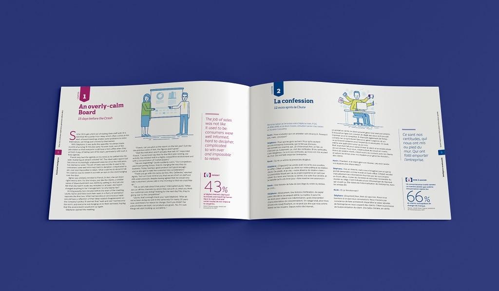 Pour ce livre blanc, en français et en anglais, nous avons envisagé une maquette permettant de mettre en face à face les deux langues.