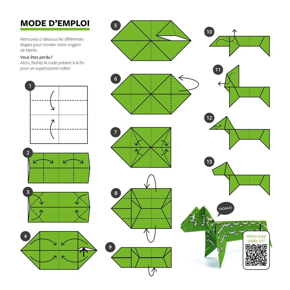 Une mode d'emploi graphique pour monter son origami teckel