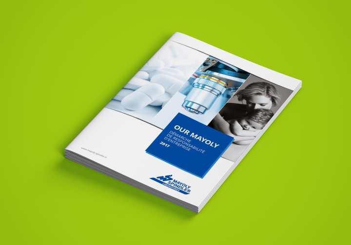 La couverture du rapport RSE à l'identité et aux couleurs du laboratoire