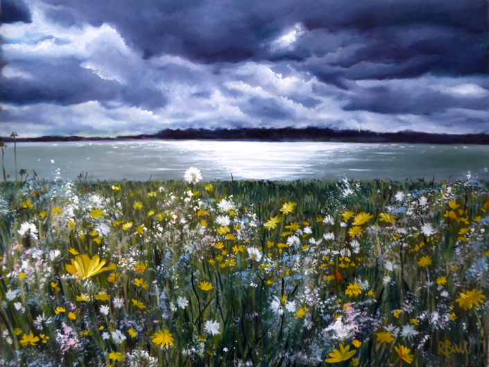 oil painting landscape estuary clouds wildflowers dandelions river