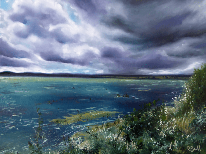 oil painting landscape estuary clouds river