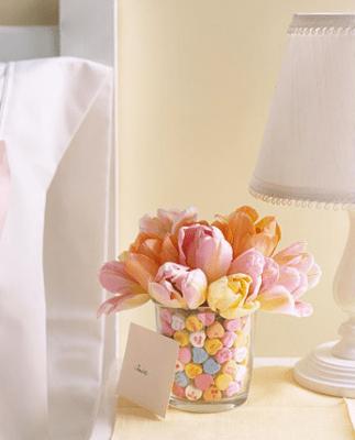 Conversation Hearts in flower vase