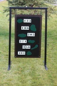 Driving Range Layout Sign -The Hasentree Club