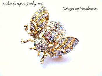 f96bcf1c3ab Vintage Crystal Diamond Gold Plate Rhinestone Bumble Bee Designer Pin Brooch  For Women, Baguette Emerald