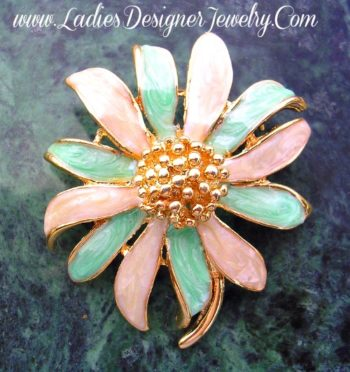 c055e73f4d5 Vintage Art Deco Mint Green Ivory Enamel Flower Burst Brooch Pin, Wedding  Bridal Designer Fashion