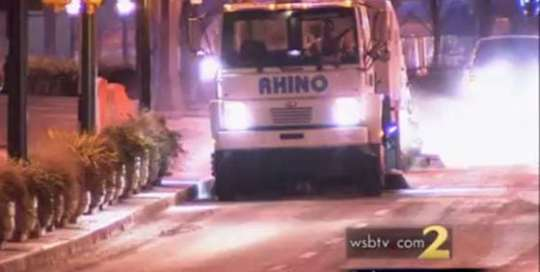 Street Sweepers Tackle Mess after Back-to-Back Snowstorms