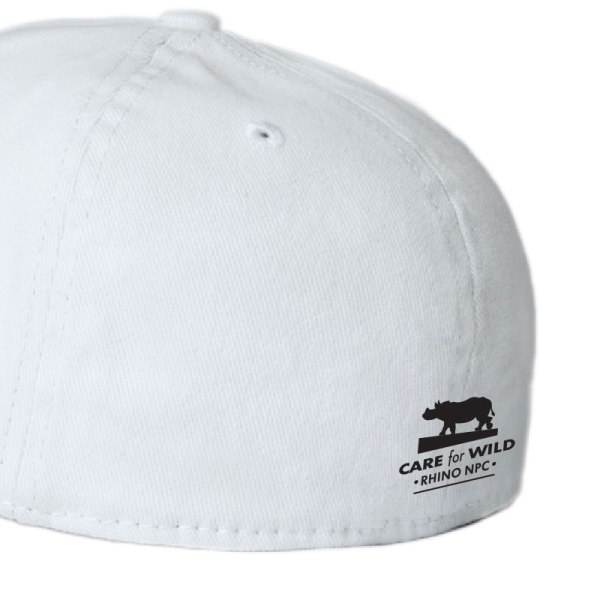 RhinoSOS, White Fitted Cap logo
