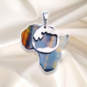 Save the Rhino - African Rhino Pendant Tiger Eye Stone