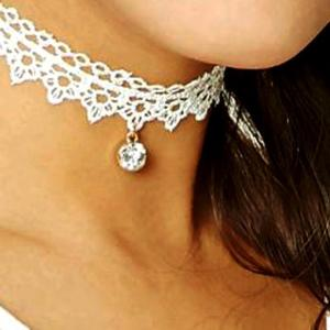 White Floral Embellished Crystal Choker - RHIZMALL.PK Online Shopping Store.