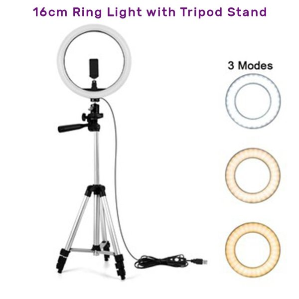 16cm Selfie Ring Light with Tripod Stand & Cell Phone Holder for Live Stream Circle Lighting Ringlights - RHIZMALL.PK Online Shopping Store.