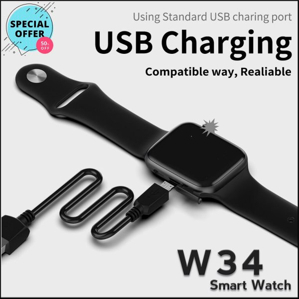 W34 Smart Watch, heart rate monitor and Fitness Tracker - RHIZMALL.PK Online Shopping Store.