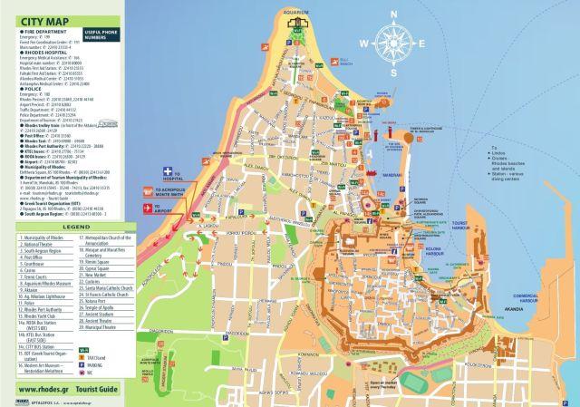 Plan de la ville de Rhodes