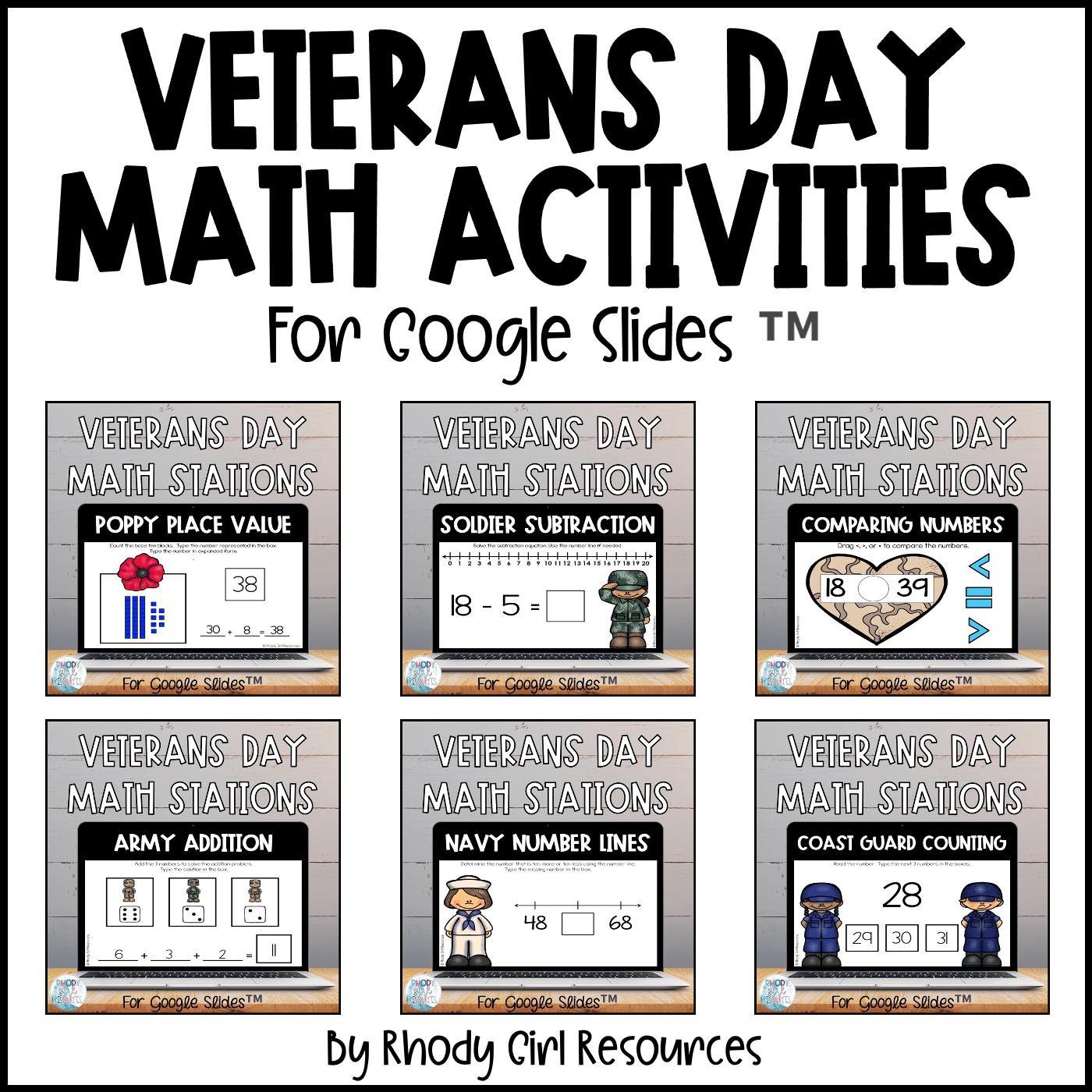 Veterans Day Math Activities 1st Grade