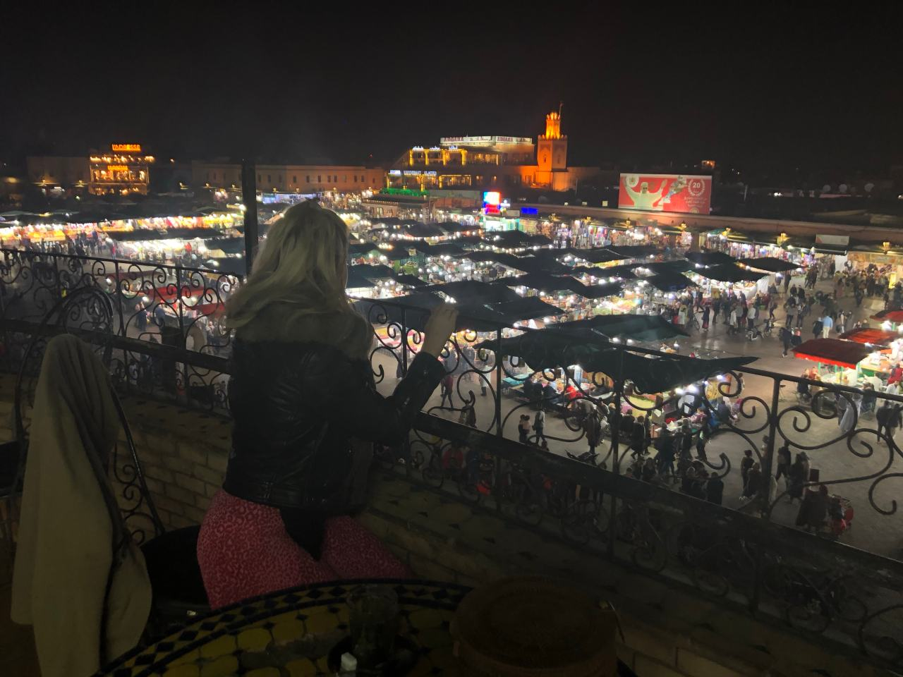 The main square in Marrakech at night from above