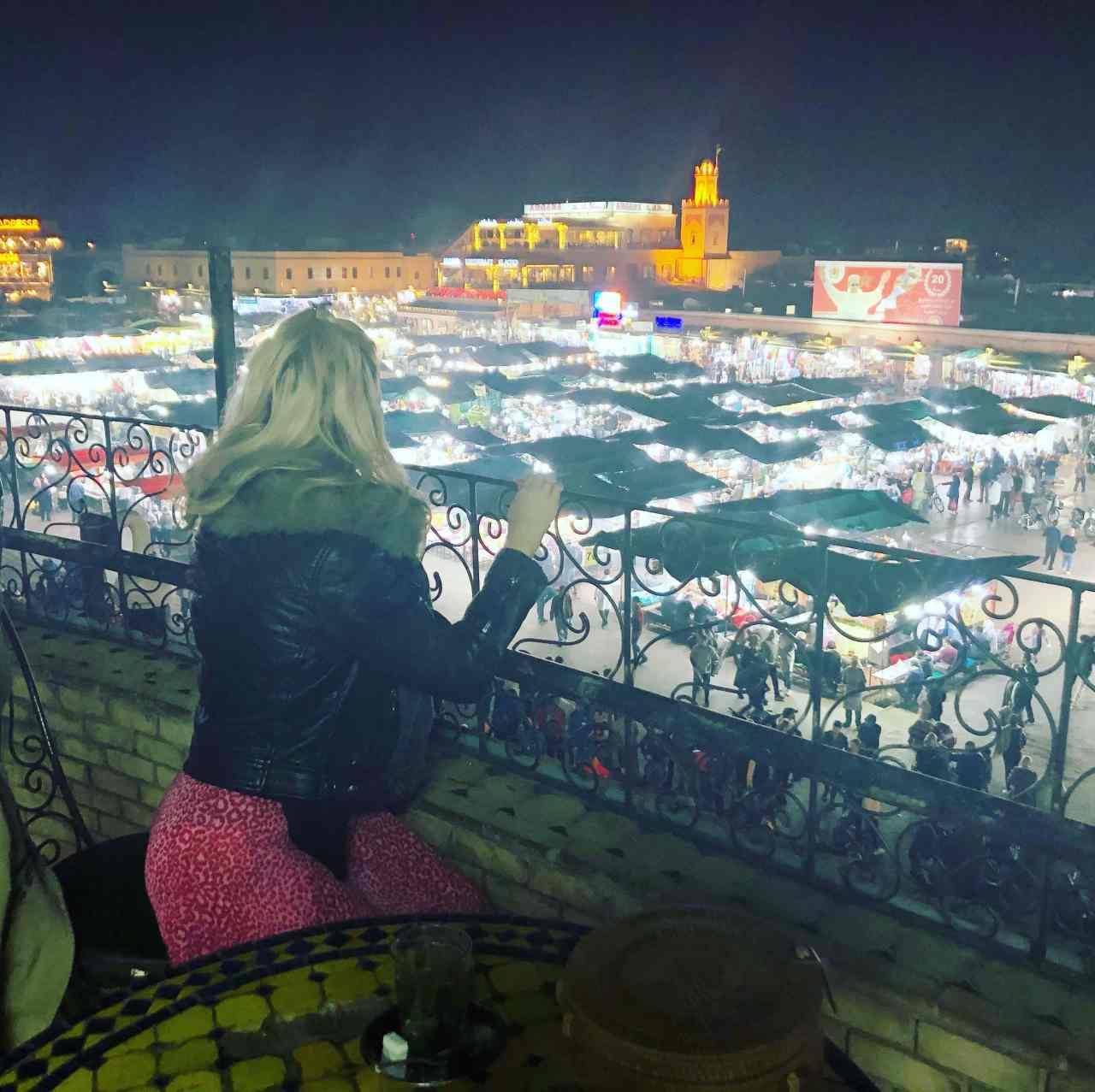 Marrakech main square at night