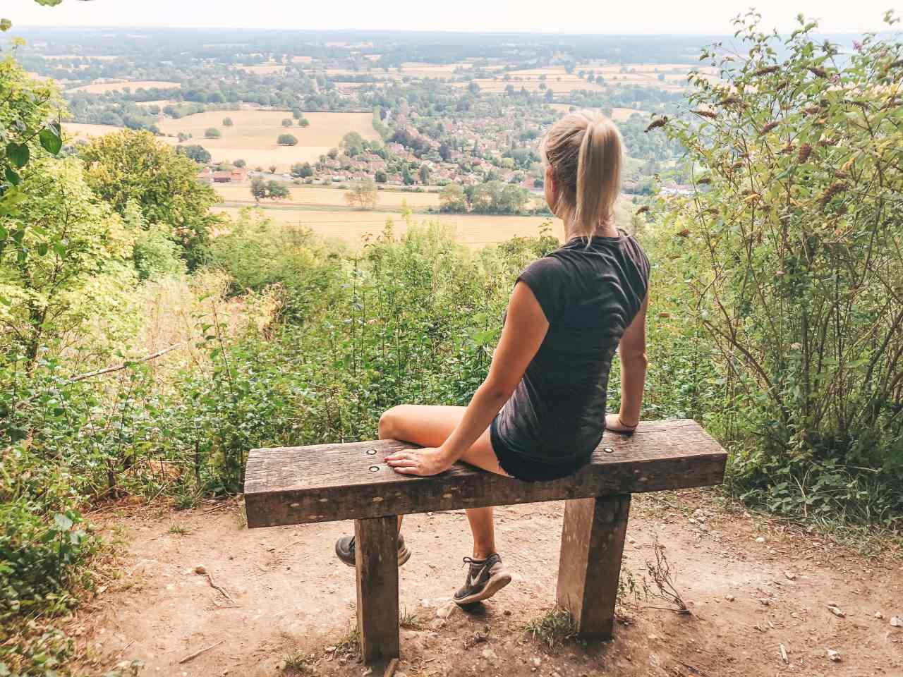 Box Hill hike bench viewpoint