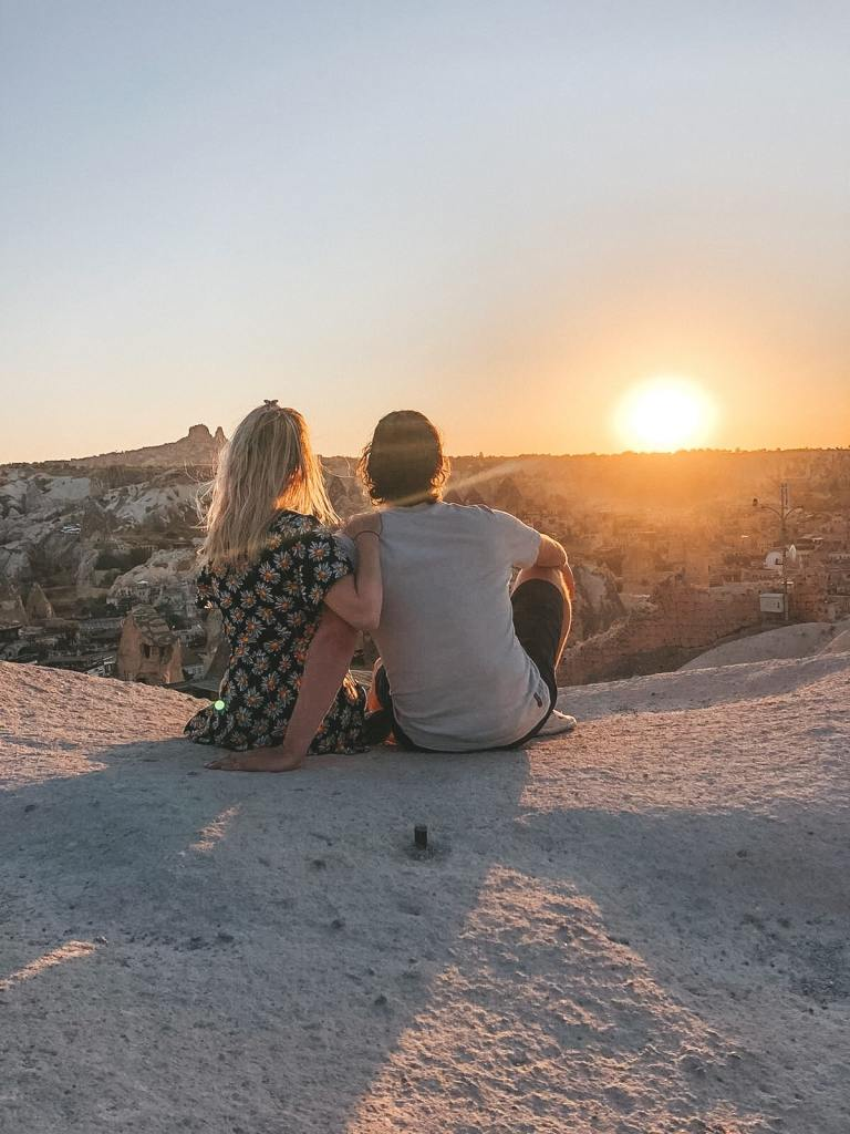 Sunset view point cappadocia couple