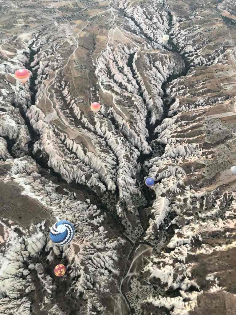 Aerial view of Cappadocia balloons