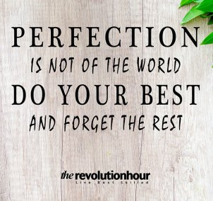 Perfection is not of the world, do your best and forget the rest