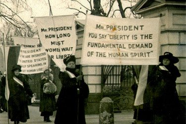 Women are demonstrating at the White House demanding voting rights in 1918. (AP Photo/Files)
