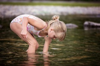 child swimming photo