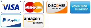 Visa, Mastercard, Discover, American Express, Pay Pal, Amazon & Apply Pay